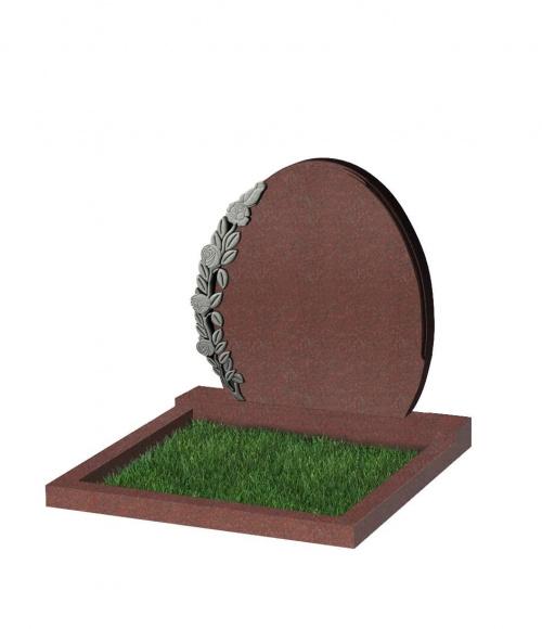 Памятник №63 резной горизонтальный 820*820*70 (Индия, красный К05)