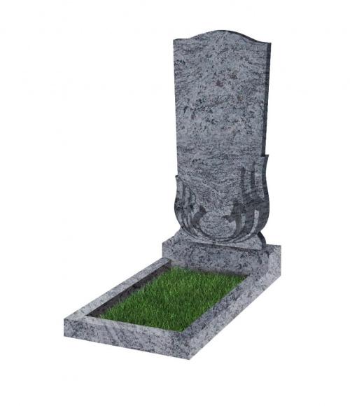 Памятник №32 резной вертикальный 1100*500*70 (Индия, голубой К10)