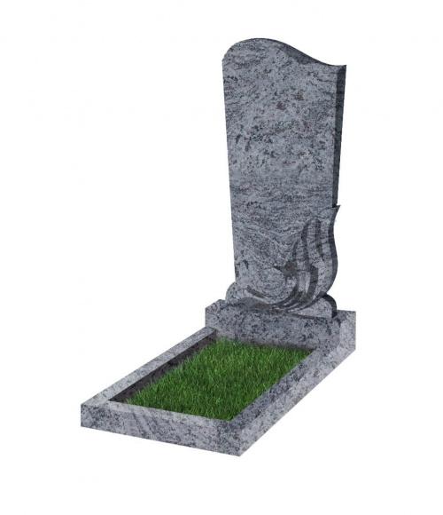 Памятник №33 резной вертикальный 1100*500*70 (Индия, голубой К10)
