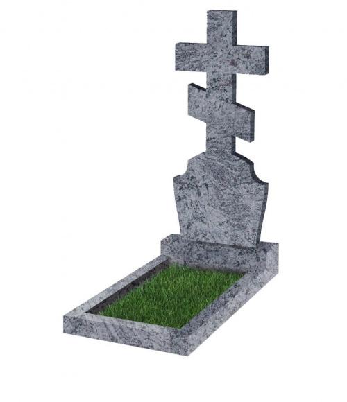 Памятник №40 резной вертикальный 1200*500*70 (Индия, голубой К10)