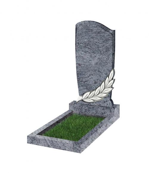 Памятник №96 резной вертикальный 1100*550*70 (Индия, голубой К10)
