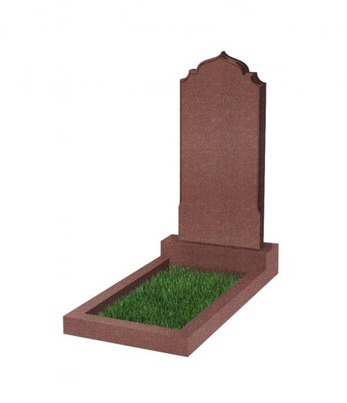Памятник №19 резной вертикальный 1000*450*70 (Индия, красный К05)
